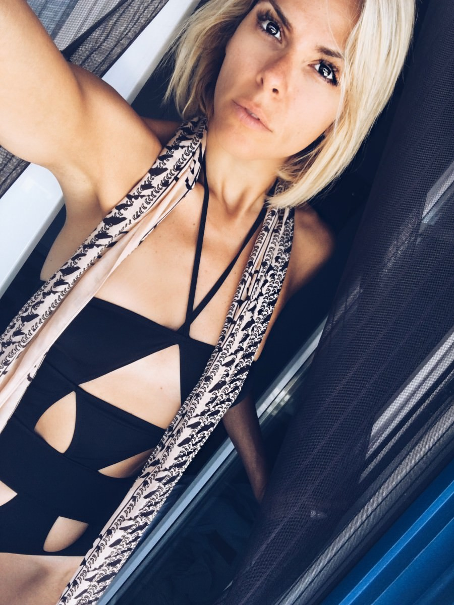 Waking up on the beautiful island wearing Black salt bikini one piece and HM Studio scarf.